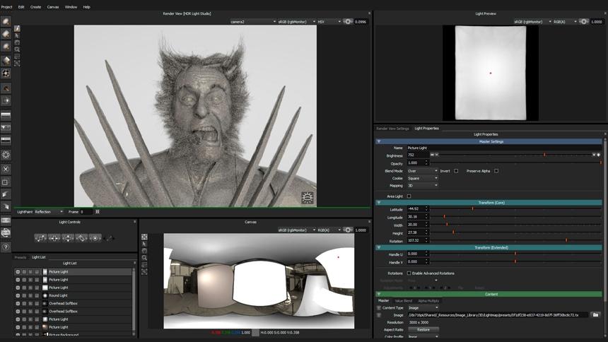 HDR Light Studio interface with digital human