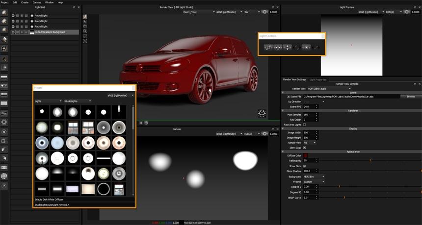 HDR Light Studio - Floating UI Panels