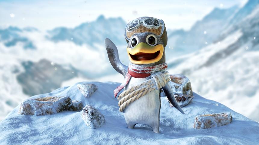 CGI of a cartoon penguin
