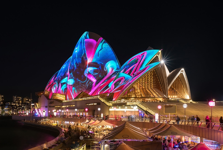 CGI projection mapping on the Sydney Opera House