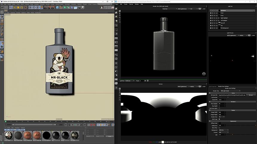 Mr Black 'Bushfire Appeal' Lighting Design. Cinema 4D on the left & HDR Light Studio on the right.