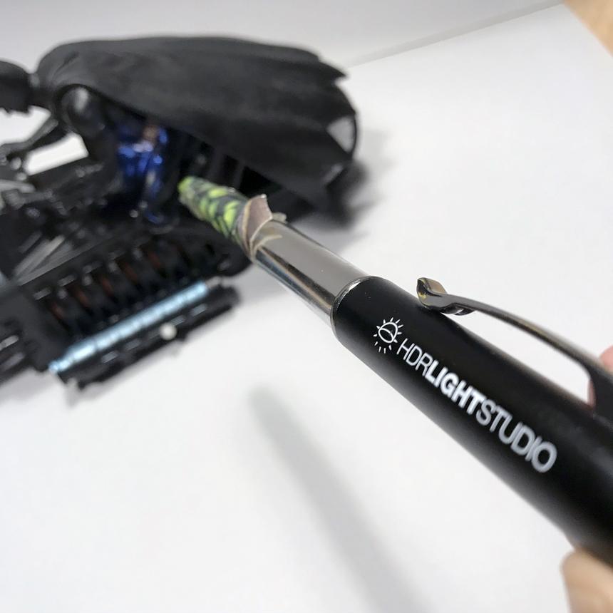 Cardboard snoot on LED pen