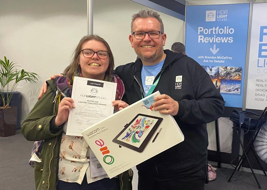 Lighting Challenge winner, receiving her prize
