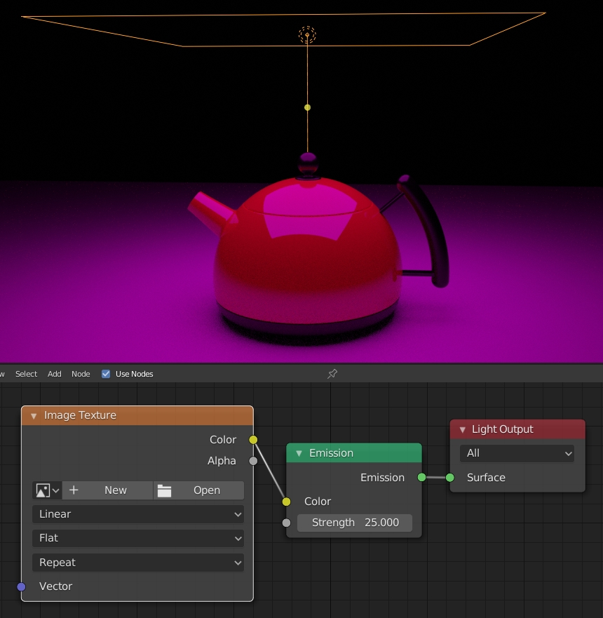 Blender Area light with missing texture