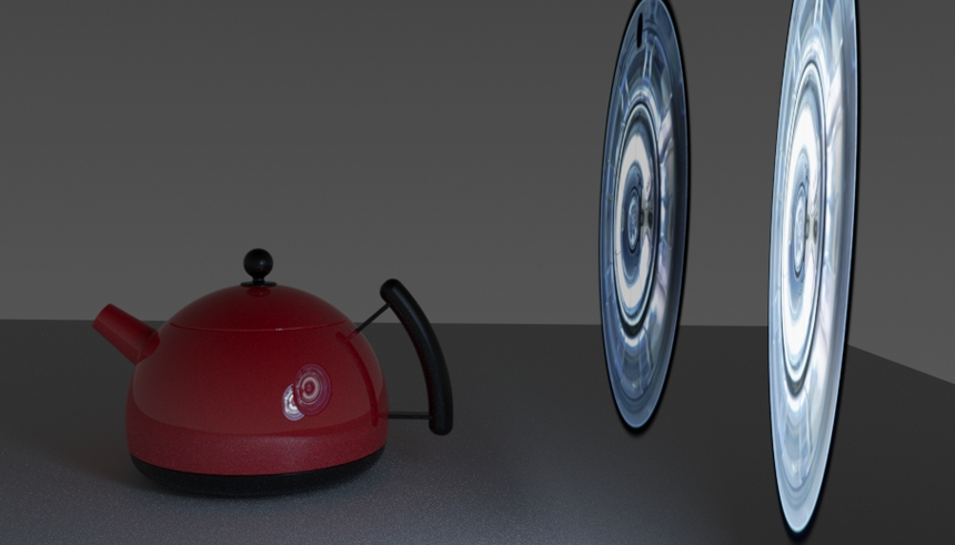 Render result with the nearest Blender mesh light solid and obscuring the other in the reflection