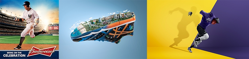 Mike's campaign images for Budweiser, ASICS & Under Armour