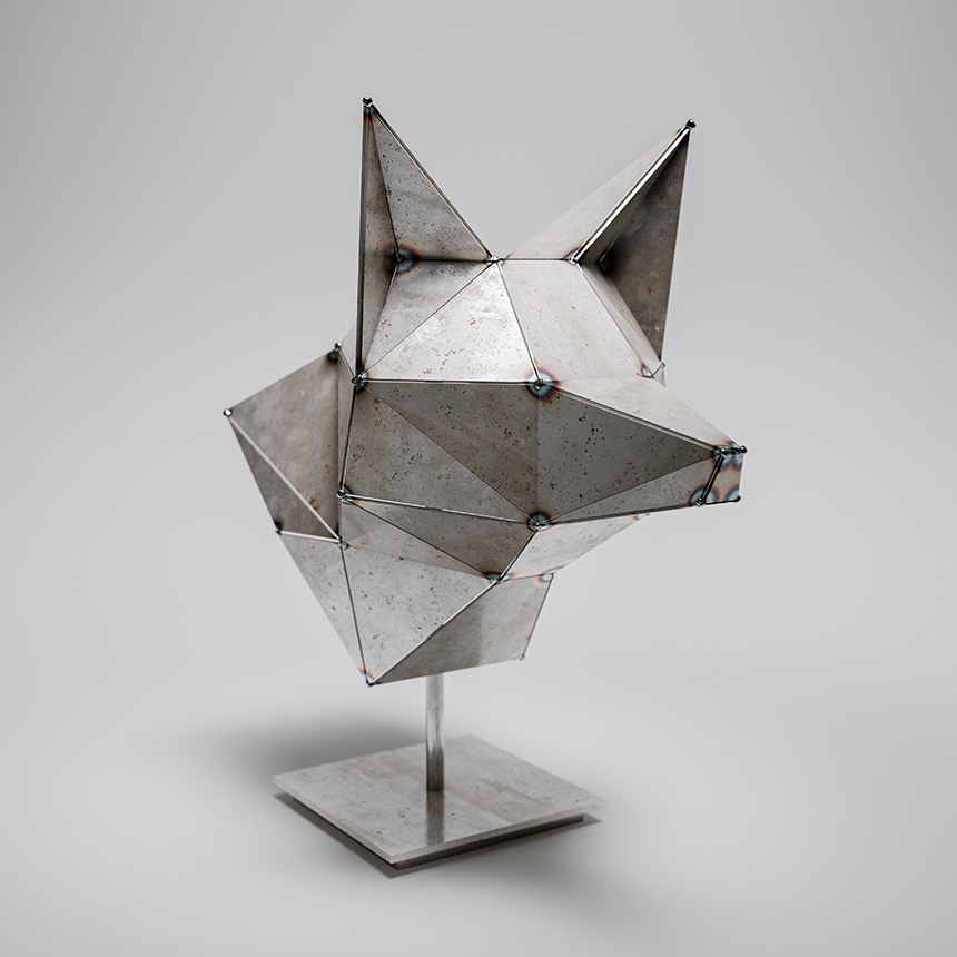 Wolf Low-Poly Sculpture