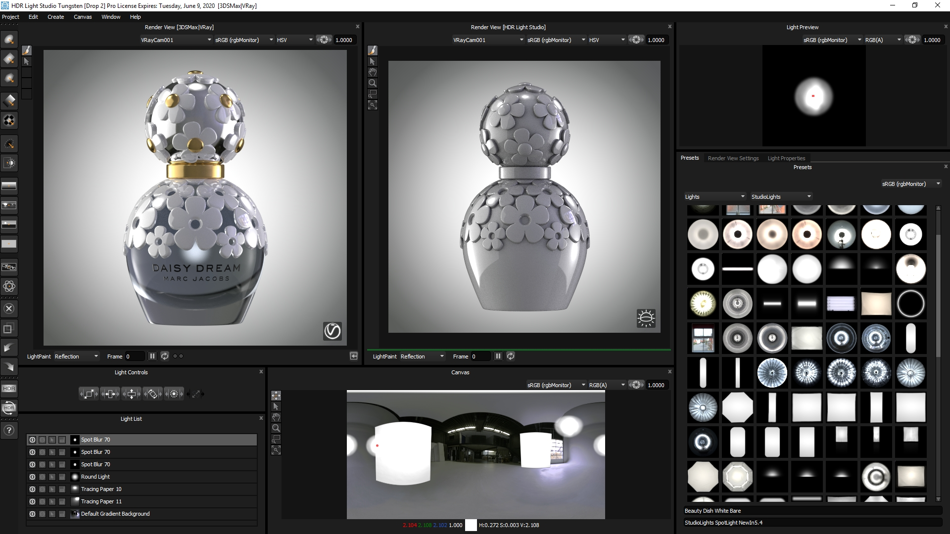 How does HDR Light Studio work with 3ds Max?