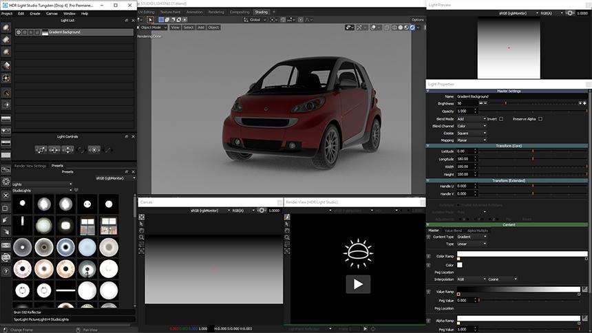 HDR Light Studio open with Blender