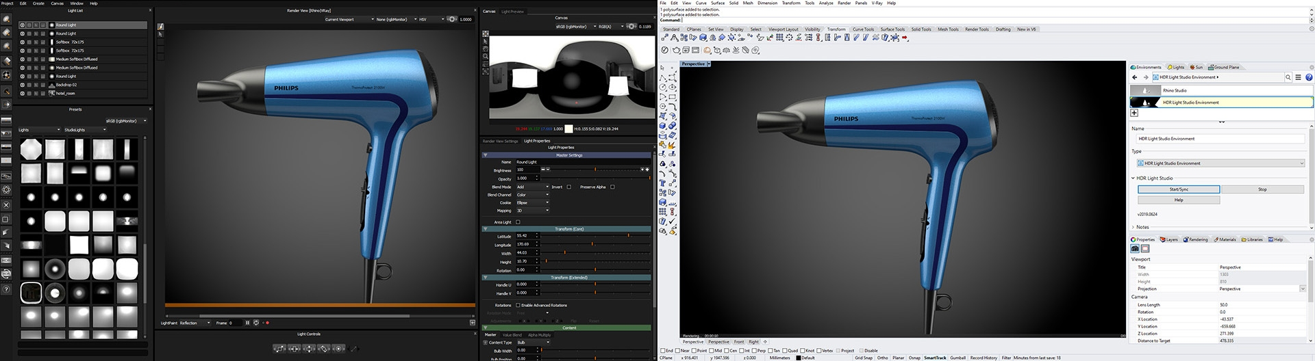 HDR Light Studio connected to Rhino 3D