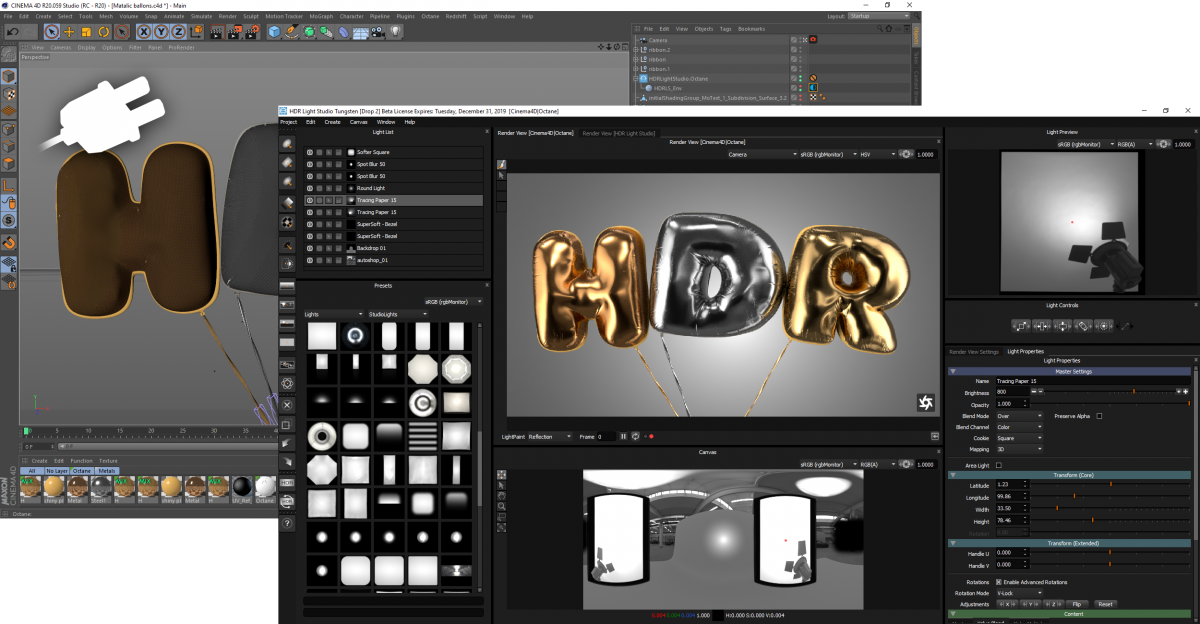 HDR Light Studio tethered to Cinema 4D