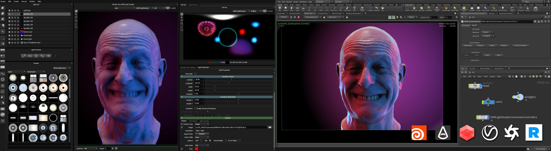 HDR Light Studio connected to Houdini