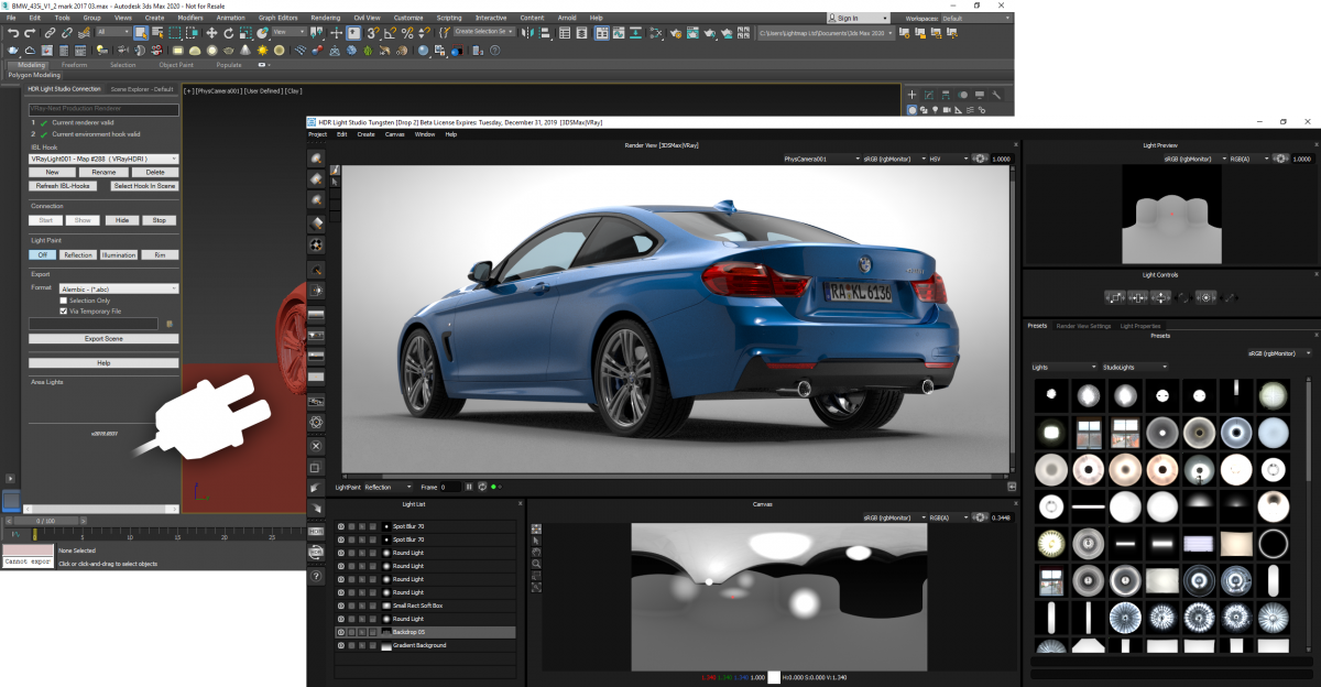 HDR Light Studio tethered to 3ds Max
