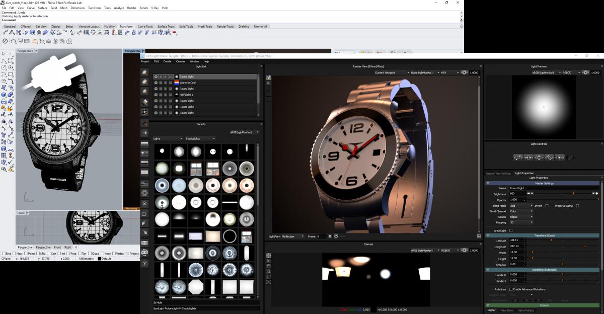 HDR Light Studio tethered to Rhino 3D