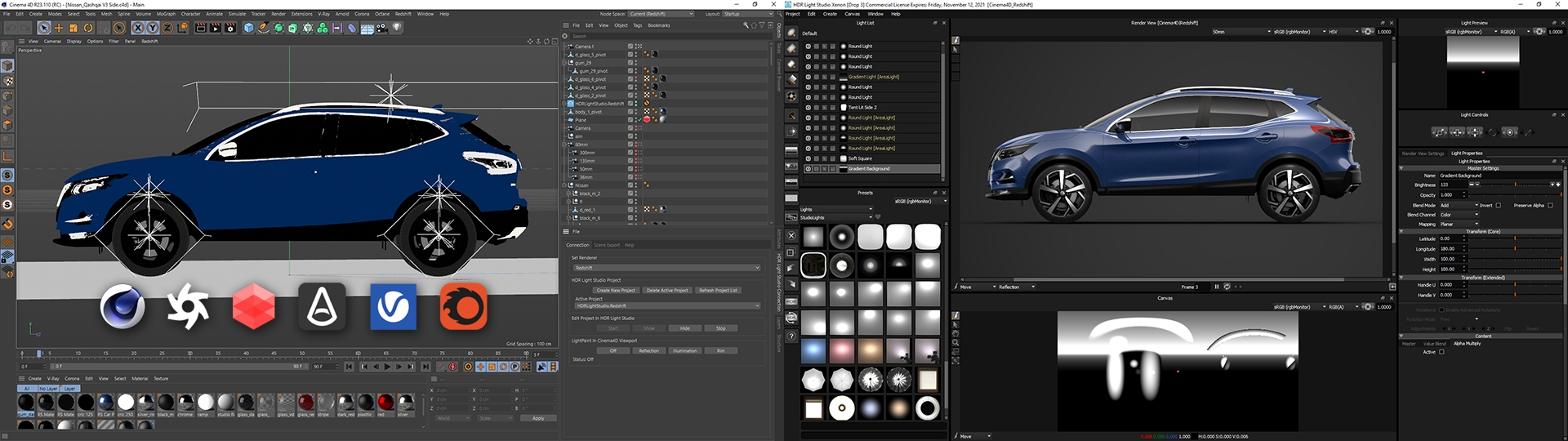 HDR Light Studio connected to Cinema 4D